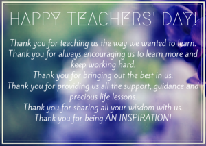 Teachers' Day Card to all the teachers of our school
