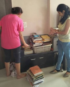 With Nikita ( representative of yuva unstoppable ) segregating last batch of books.